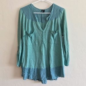 Anthro Left Of Center Green Mixed Media Popover XS